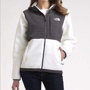 The North Face Denali Jacket White Gray Full ZIP